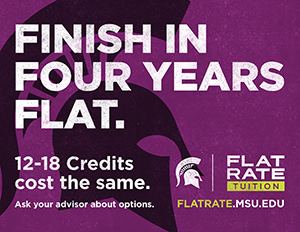 Flat rate tuition - Finish in four years flat